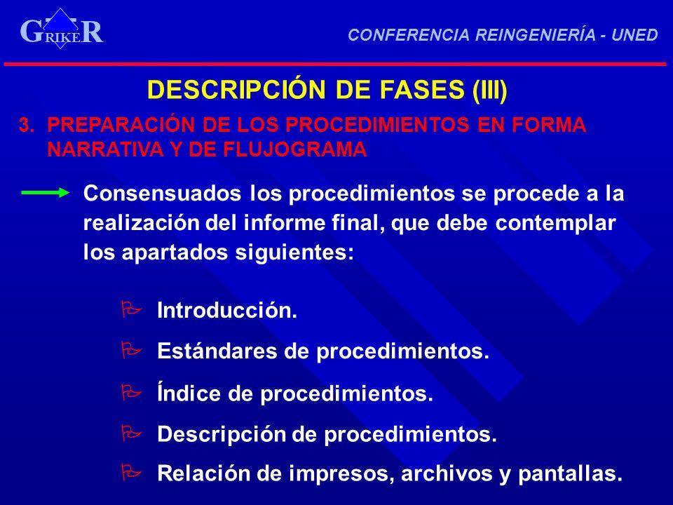 G DESCRIPCIÓN DE FASES (III)