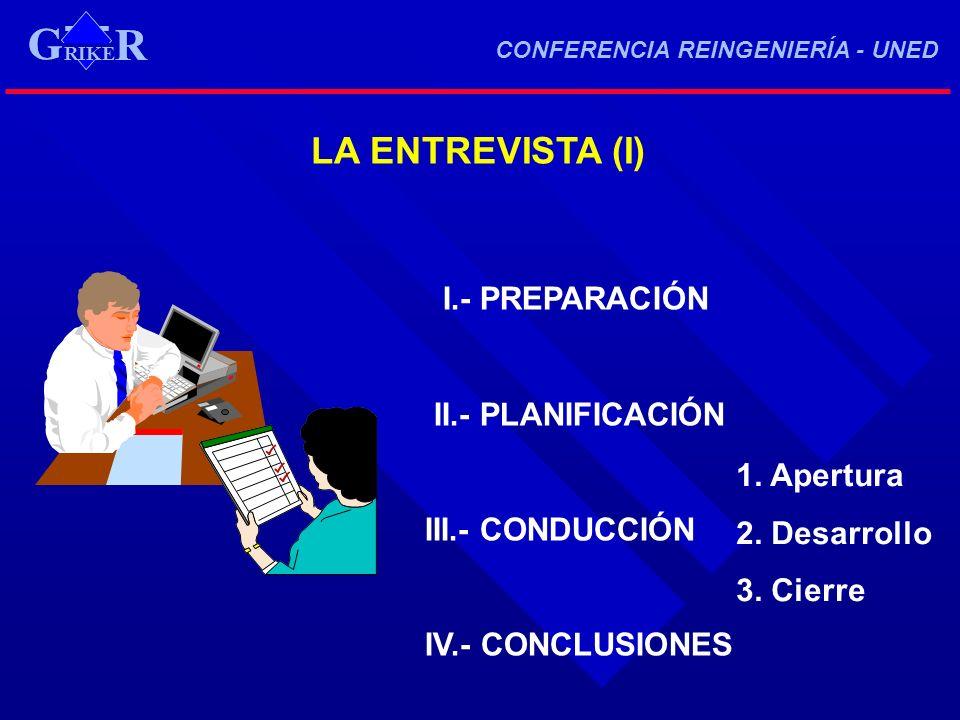 G LA ENTREVISTA (I) I.- PREPARACIÓN II.- PLANIFICACIÓN