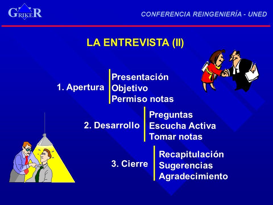 G LA ENTREVISTA (II) 1. Apertura Presentación Objetivo 2. Desarrollo