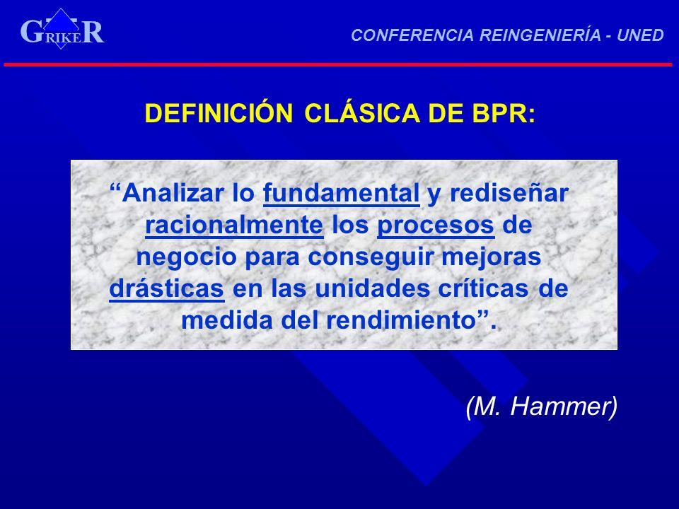 DEFINICIÓN CLÁSICA DE BPR: