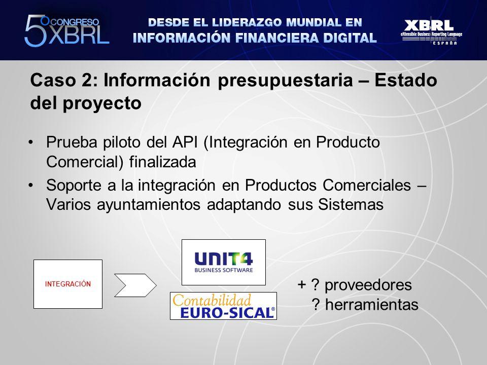 Caso 2: Información presupuestaria – Estado del proyecto