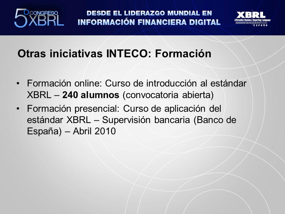 Otras iniciativas INTECO: Formación