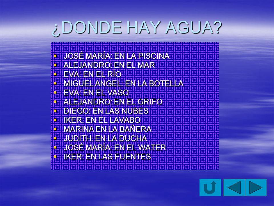¿DONDE HAY AGUA JOSÉ MARÍA: EN LA PISCINA ALEJANDRO: EN EL MAR