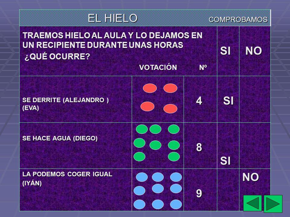 EL HIELO COMPROBAMOS SI NO 4 8 9