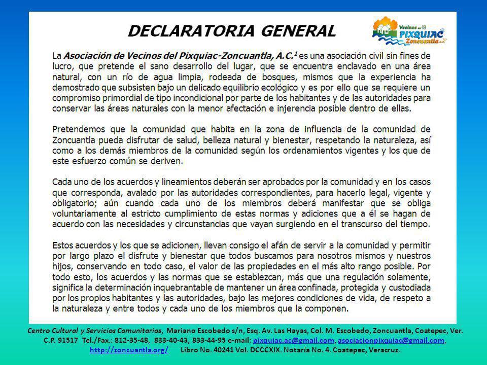 Centro Cultural y Servicios Comunitarios, Mariano Escobedo s/n, Esq. Av. Las Hayas, Col. M. Escobedo, Zoncuantla, Coatepec, Ver. C.P. 91517 Tel./Fax.: 812-35-48, 833-40-43, 833-44-95 e-mail: pixquiac.ac@gmail.com, asociacionpixquiac@gmail.com,