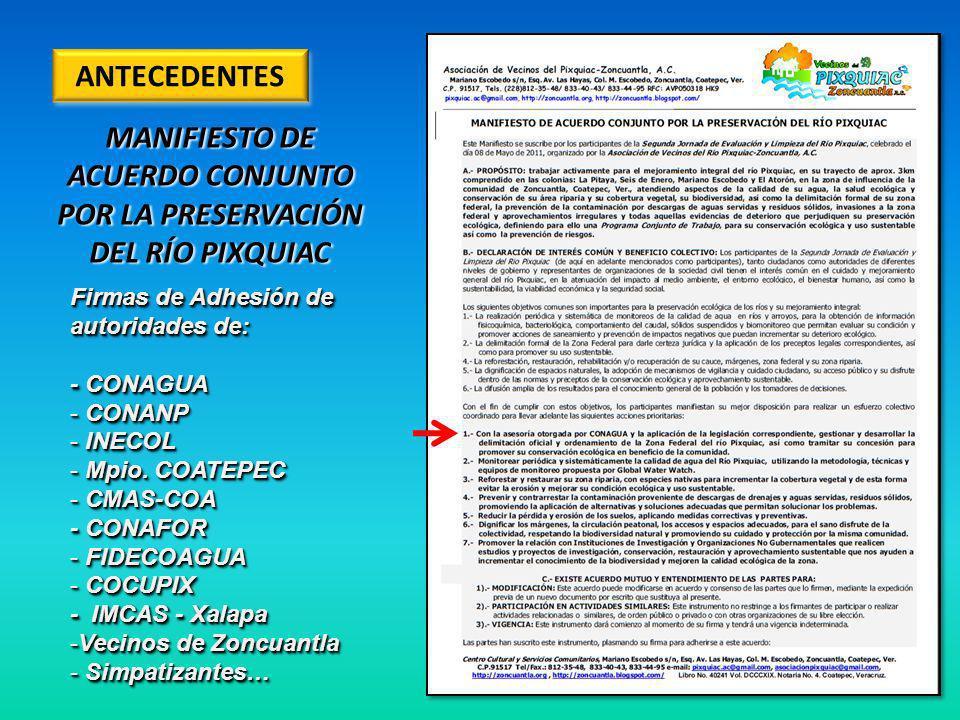 MANIFIESTO DE ACUERDO CONJUNTO POR LA PRESERVACIÓN DEL RÍO PIXQUIAC