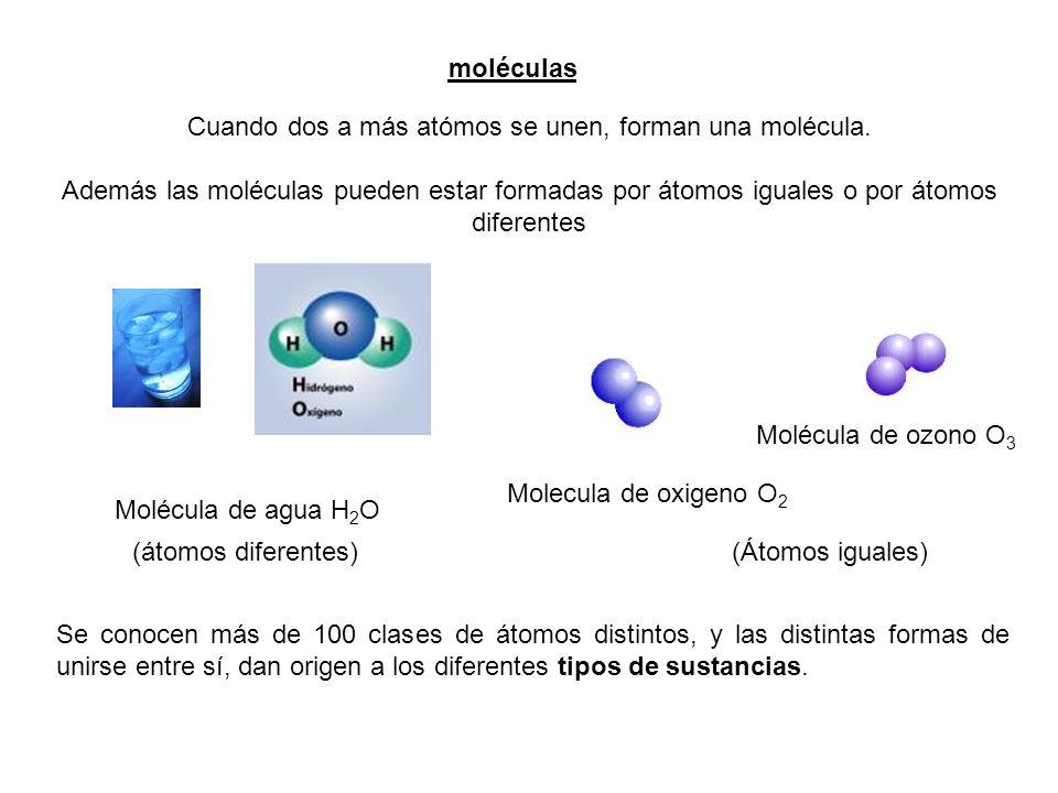 Cuando dos a más atómos se unen, forman una molécula.