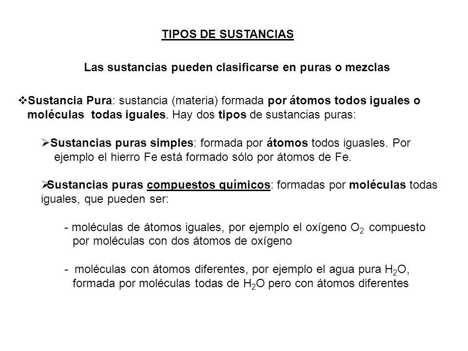 TIPOS DE SUSTANCIAS Las sustancias pueden clasificarse en puras o mezclas. Sustancia Pura: sustancia (materia) formada por átomos todos iguales o.