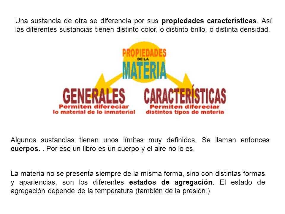 Una sustancia de otra se diferencia por sus propiedades características. Así las diferentes sustancias tienen distinto color, o distinto brillo, o distinta densidad.