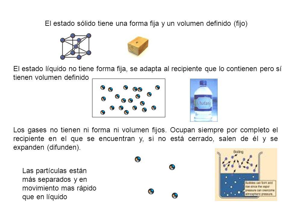 El estado sólido tiene una forma fija y un volumen definido (fijo)