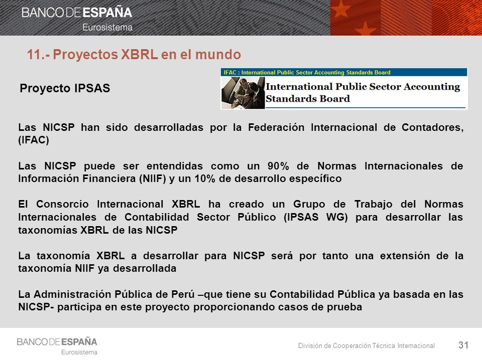 11.- Proyectos XBRL en el mundo