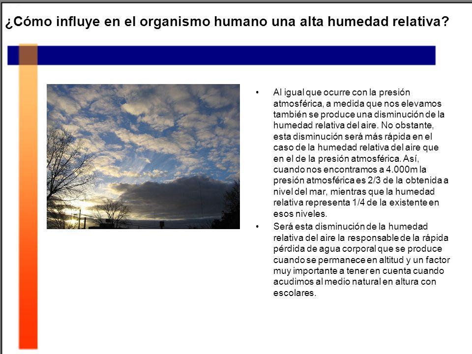 ¿Cómo influye en el organismo humano una alta humedad relativa