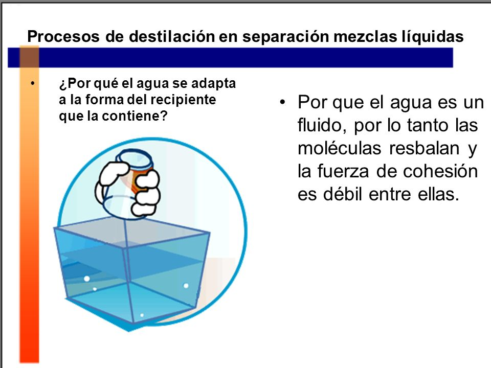 Procesos de destilación en separación mezclas líquidas