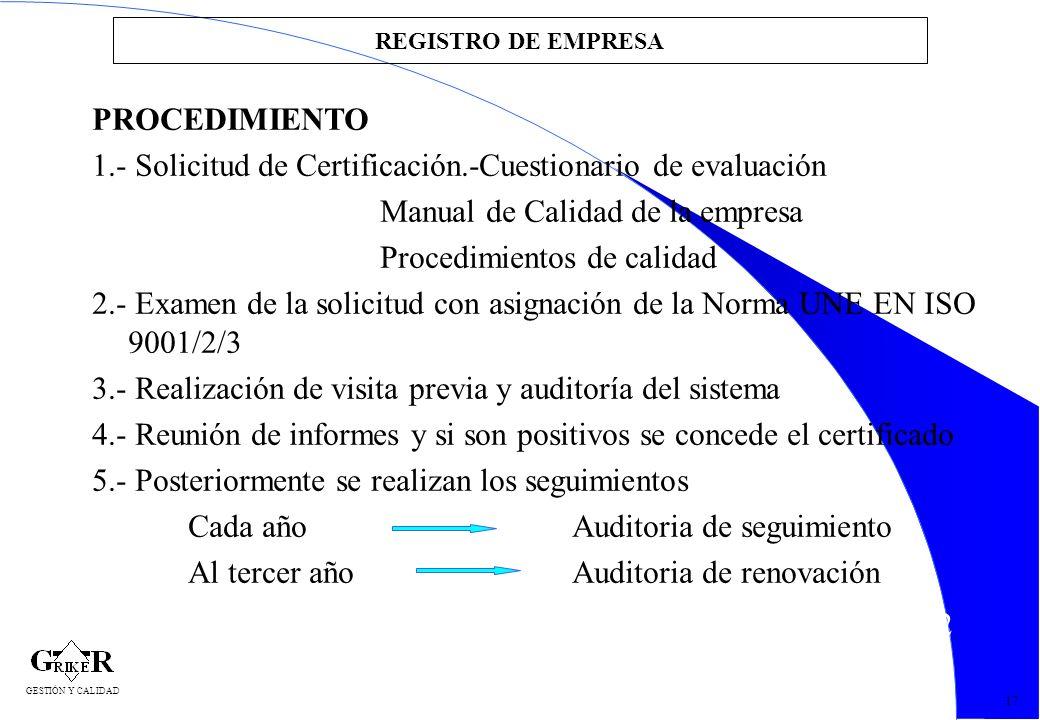 1.- Solicitud de Certificación.-Cuestionario de evaluación