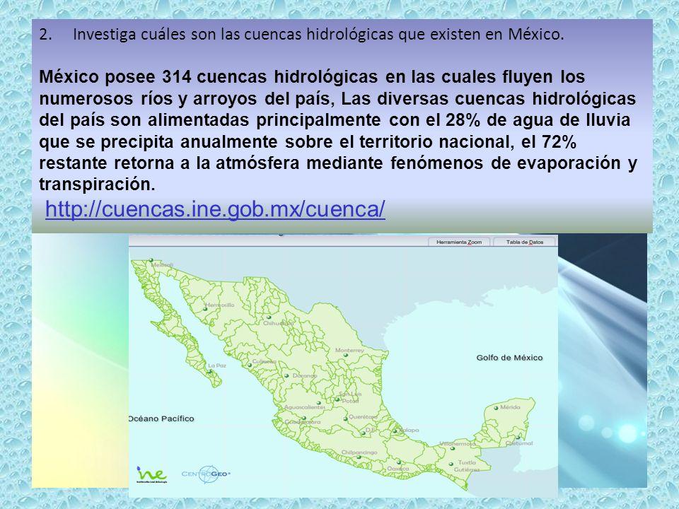 Investiga cuáles son las cuencas hidrológicas que existen en México.