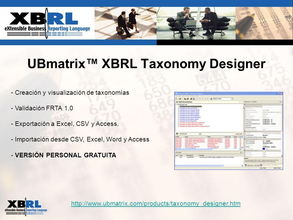 UBmatrix™ XBRL Taxonomy Designer
