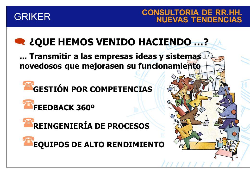      GRIKER ¿QUE HEMOS VENIDO HACIENDO ... CONSULTORIA DE RR.HH.