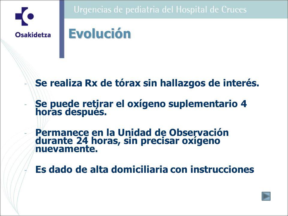 Evolución Se realiza Rx de tórax sin hallazgos de interés.
