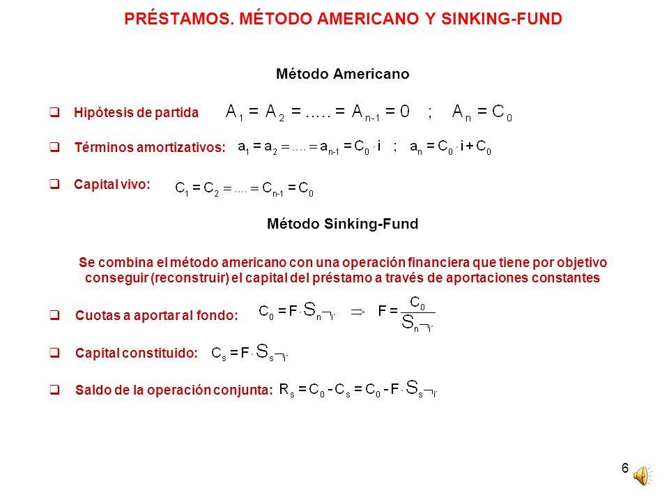 PRÉSTAMOS. MÉTODO AMERICANO Y SINKING-FUND