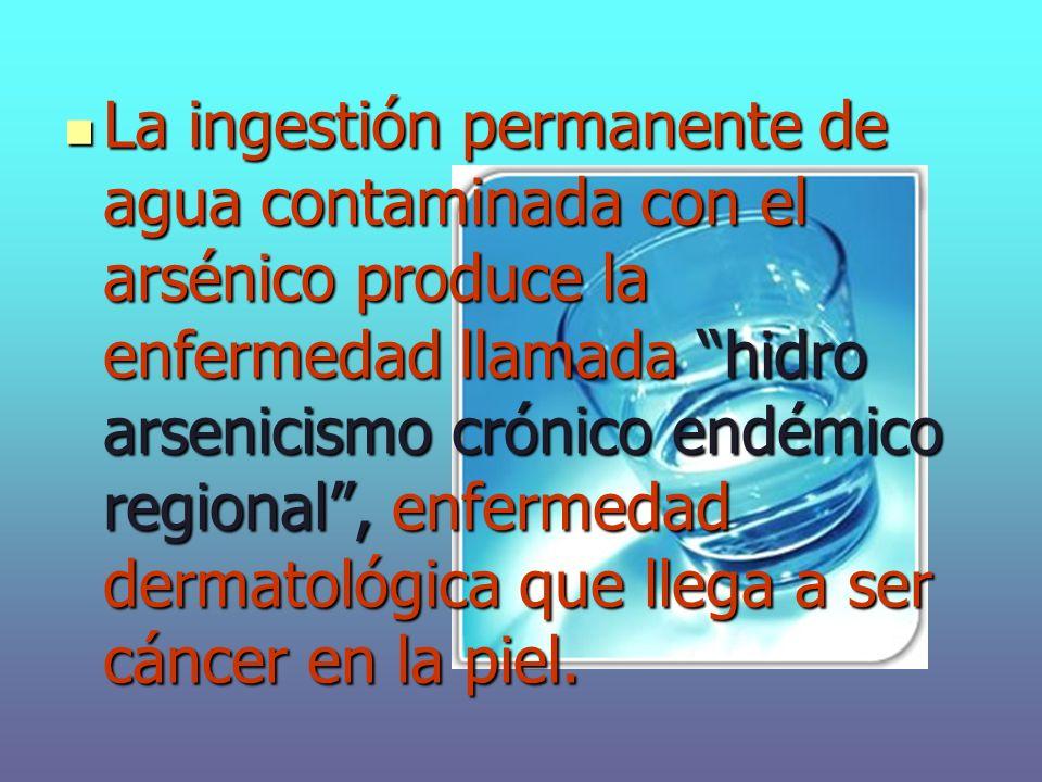 La ingestión permanente de agua contaminada con el arsénico produce la enfermedad llamada hidro arsenicismo crónico endémico regional , enfermedad dermatológica que llega a ser cáncer en la piel.