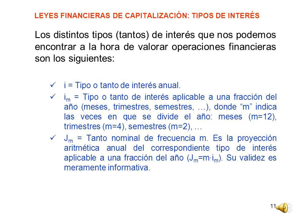 LEYES FINANCIERAS DE CAPITALIZACIÓN: TIPOS DE INTERÉS