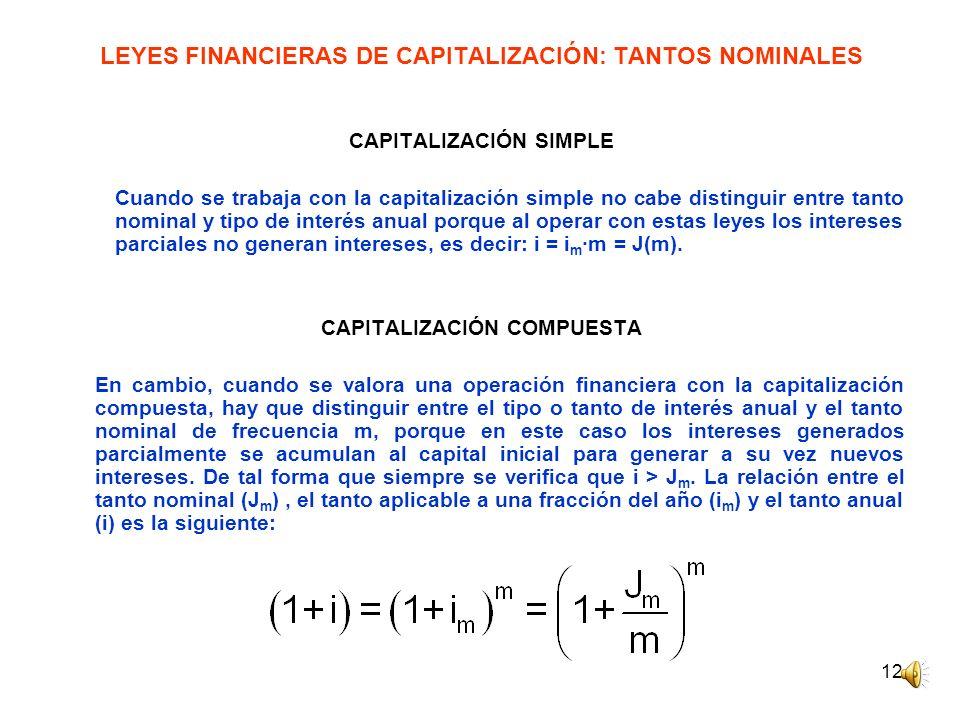 LEYES FINANCIERAS DE CAPITALIZACIÓN: TANTOS NOMINALES