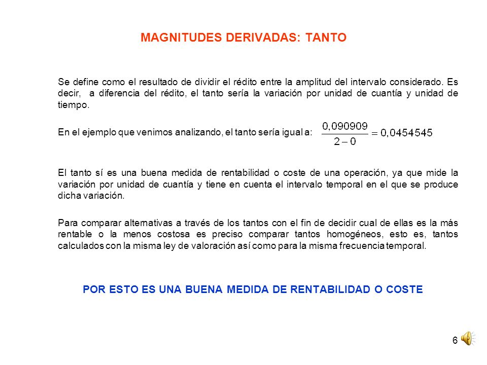 MAGNITUDES DERIVADAS: TANTO