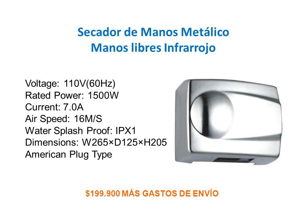Secador de Manos Metálico Manos libres Infrarrojo