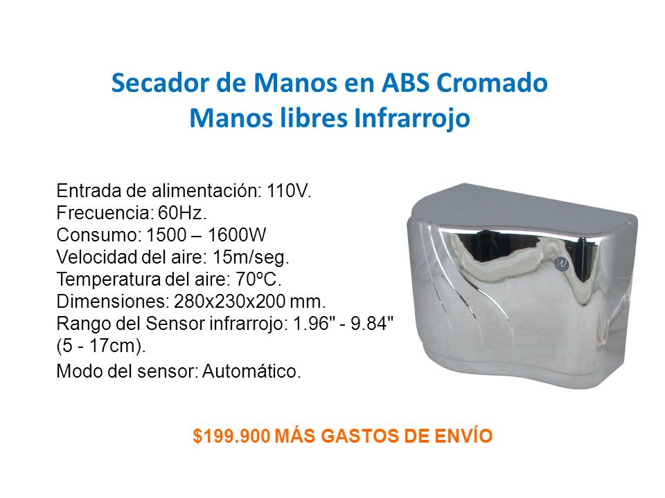 Secador de Manos en ABS Cromado Manos libres Infrarrojo