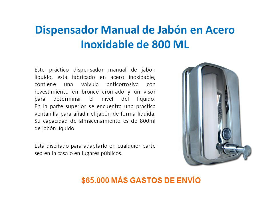 Dispensador Manual de Jabón en Acero Inoxidable de 800 ML