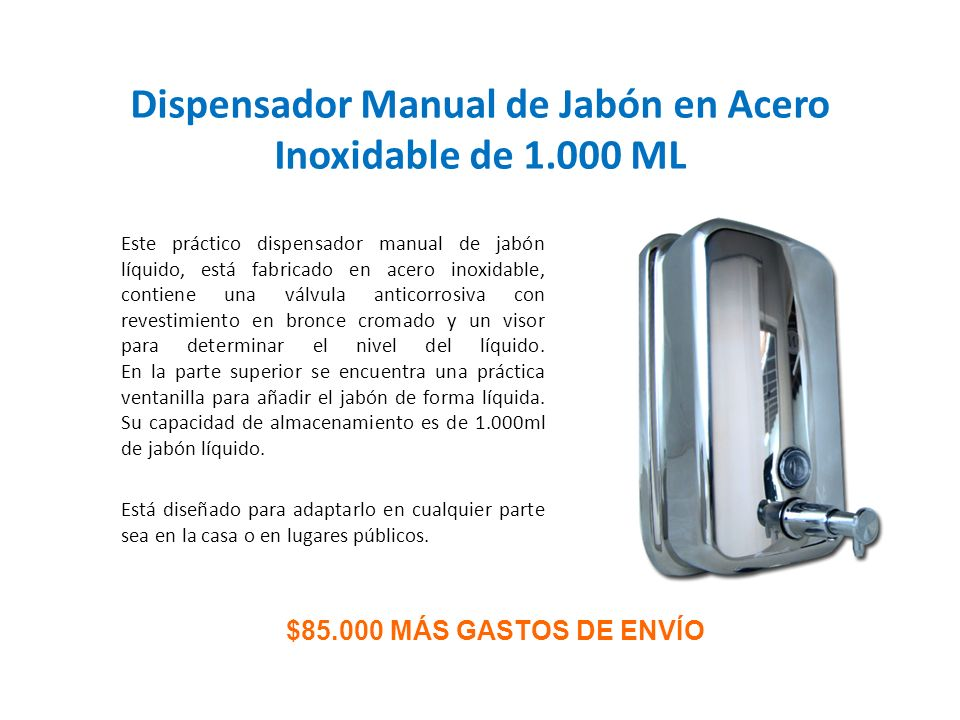 Dispensador Manual de Jabón en Acero Inoxidable de 1.000 ML
