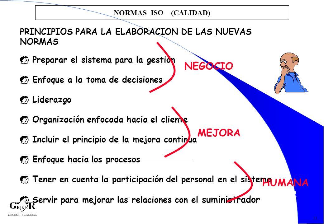 NORMAS ISO (CALIDAD)PRINCIPIOS PARA LA ELABORACION DE LAS NUEVAS NORMAS. Preparar el sistema para la gestión.