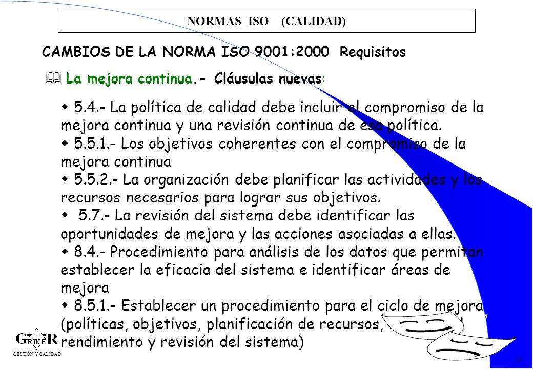 NORMAS ISO (CALIDAD)CAMBIOS DE LA NORMA ISO 9001:2000 Requisitos. La mejora continua.- Cláusulas nuevas: