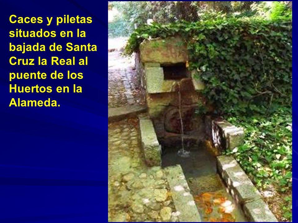 Caces y piletas situados en la bajada de Santa Cruz la Real al puente de los Huertos en la Alameda.
