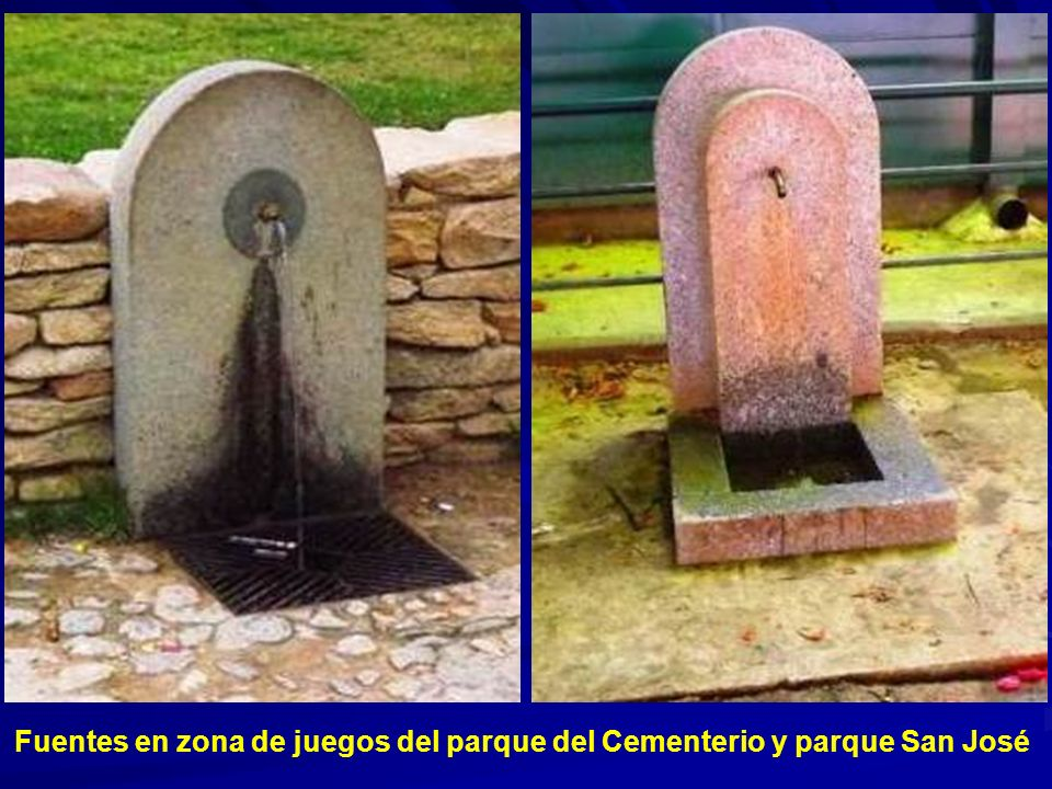 Fuentes en zona de juegos del parque del Cementerio y parque San José