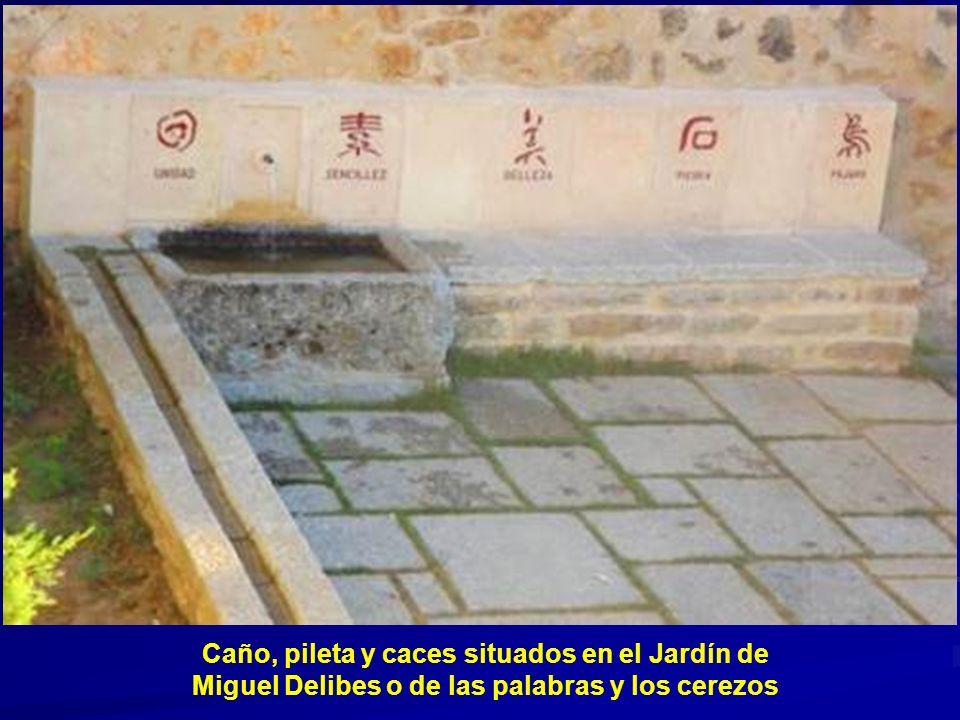 Caño, pileta y caces situados en el Jardín de Miguel Delibes o de las palabras y los cerezos