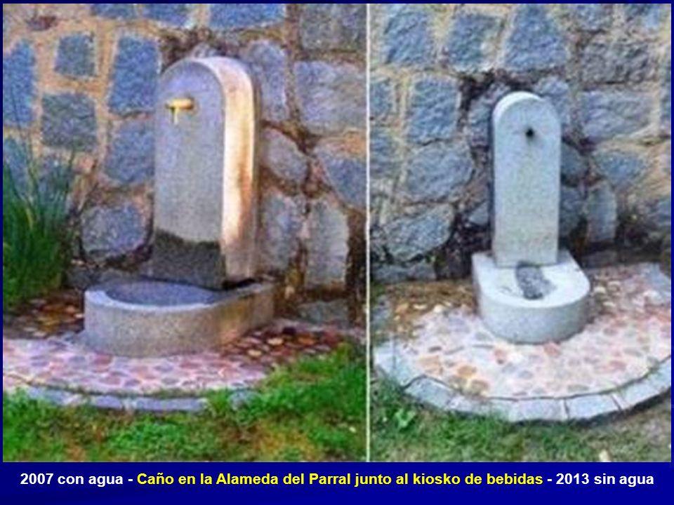 2007 con agua - Caño en la Alameda del Parral junto al kiosko de bebidas - 2013 sin agua