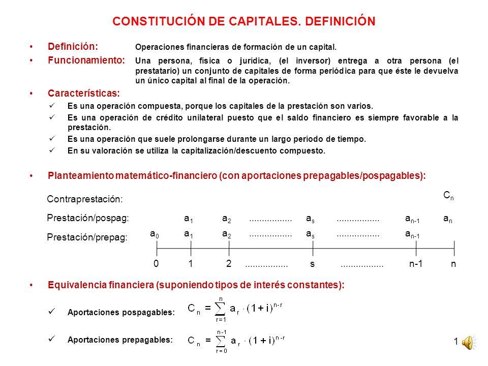 CONSTITUCIÓN DE CAPITALES. DEFINICIÓN
