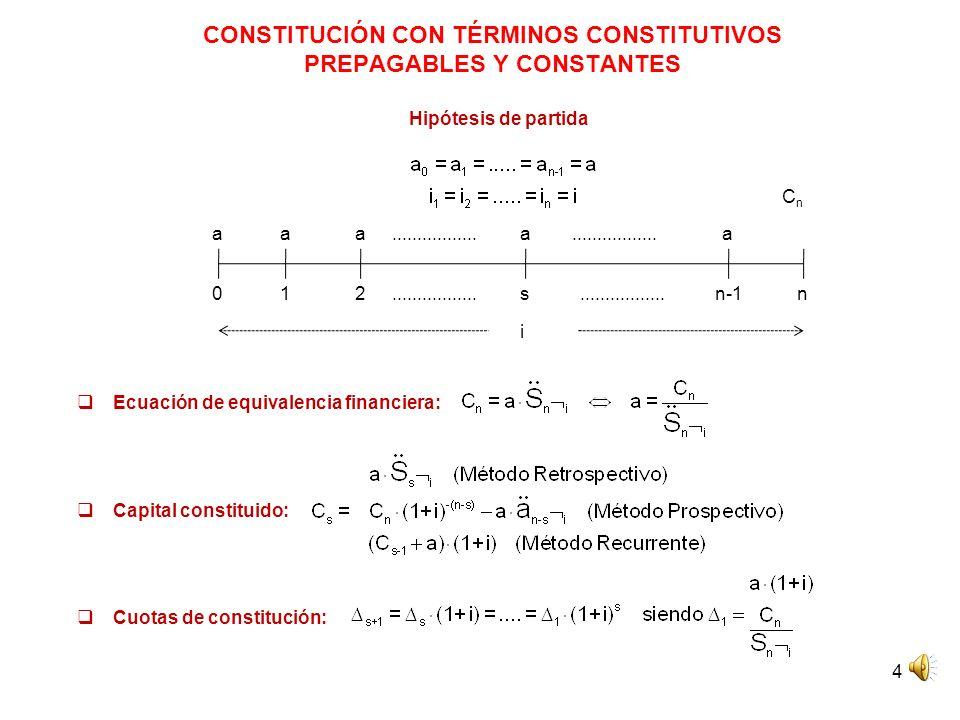 CONSTITUCIÓN CON TÉRMINOS CONSTITUTIVOS PREPAGABLES Y CONSTANTES