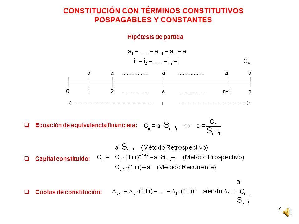 CONSTITUCIÓN CON TÉRMINOS CONSTITUTIVOS POSPAGABLES Y CONSTANTES