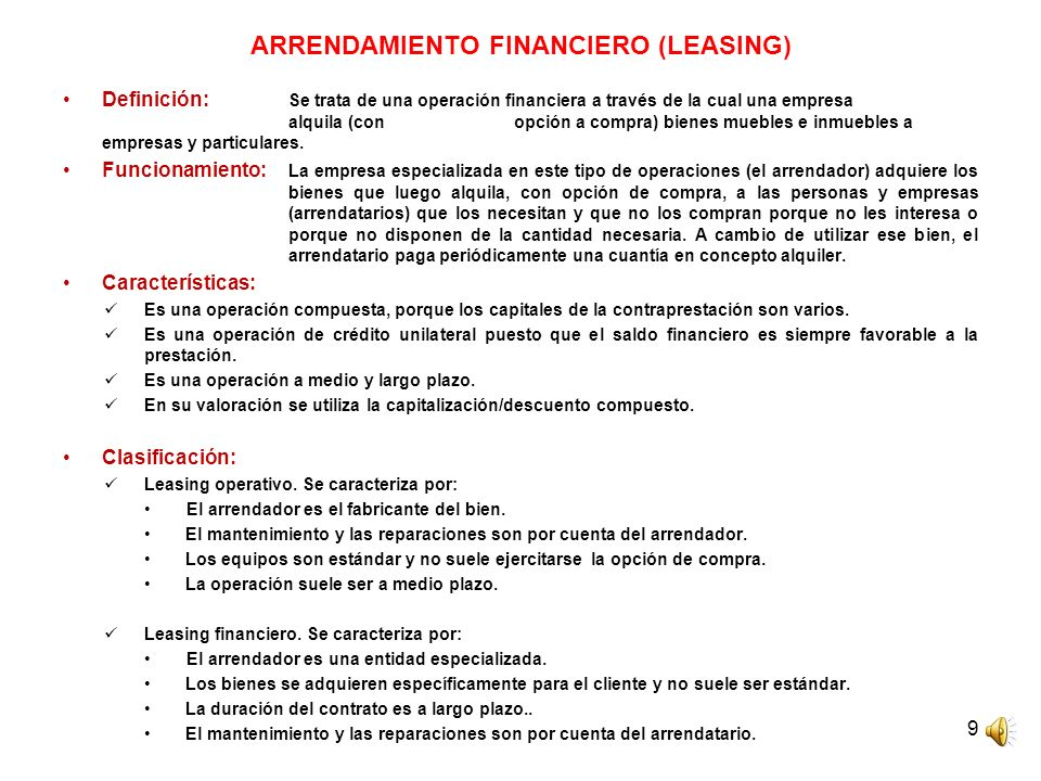 ARRENDAMIENTO FINANCIERO (LEASING)