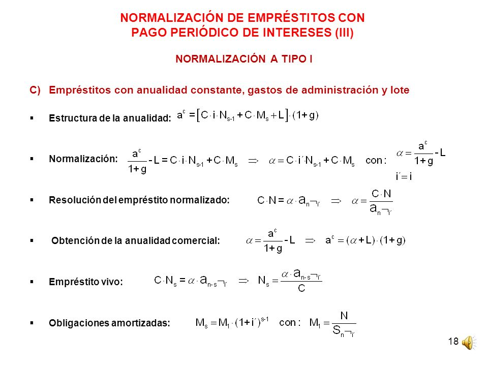 NORMALIZACIÓN DE EMPRÉSTITOS CON PAGO PERIÓDICO DE INTERESES (III)