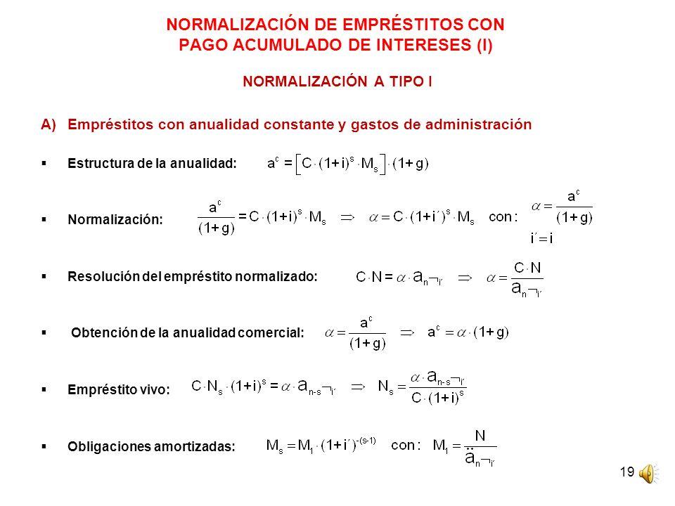 NORMALIZACIÓN DE EMPRÉSTITOS CON PAGO ACUMULADO DE INTERESES (I)