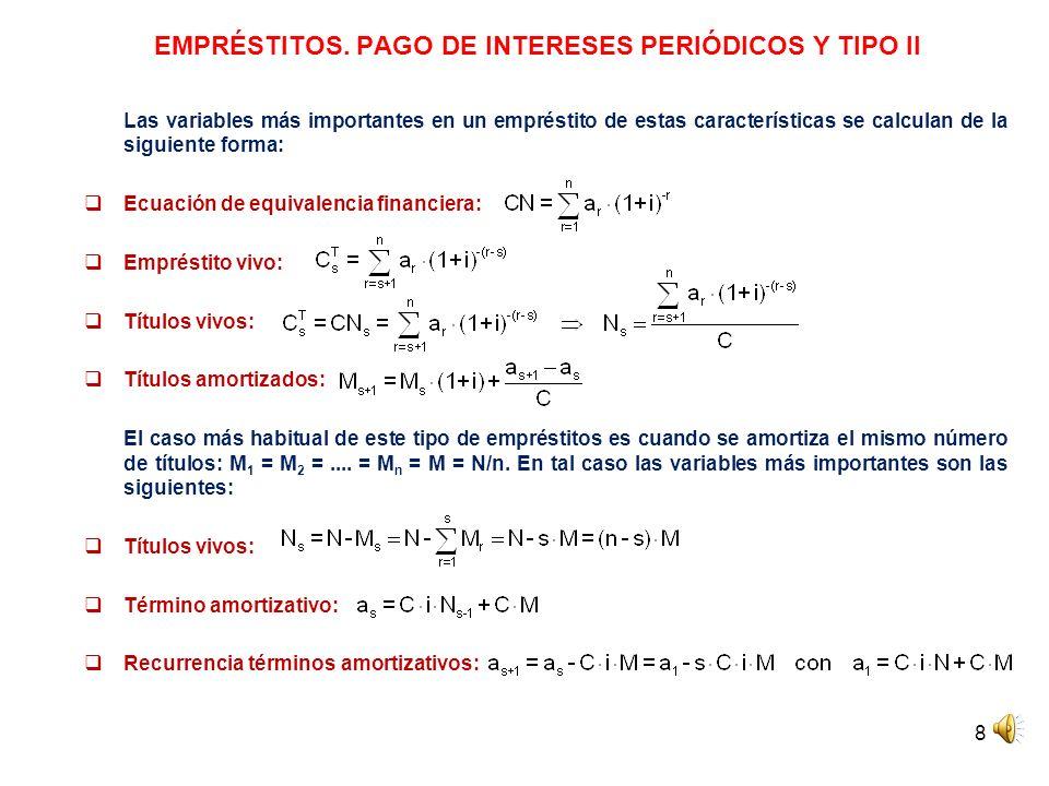 EMPRÉSTITOS. PAGO DE INTERESES PERIÓDICOS Y TIPO II
