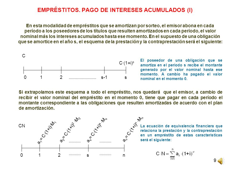 EMPRÉSTITOS. PAGO DE INTERESES ACUMULADOS (I)