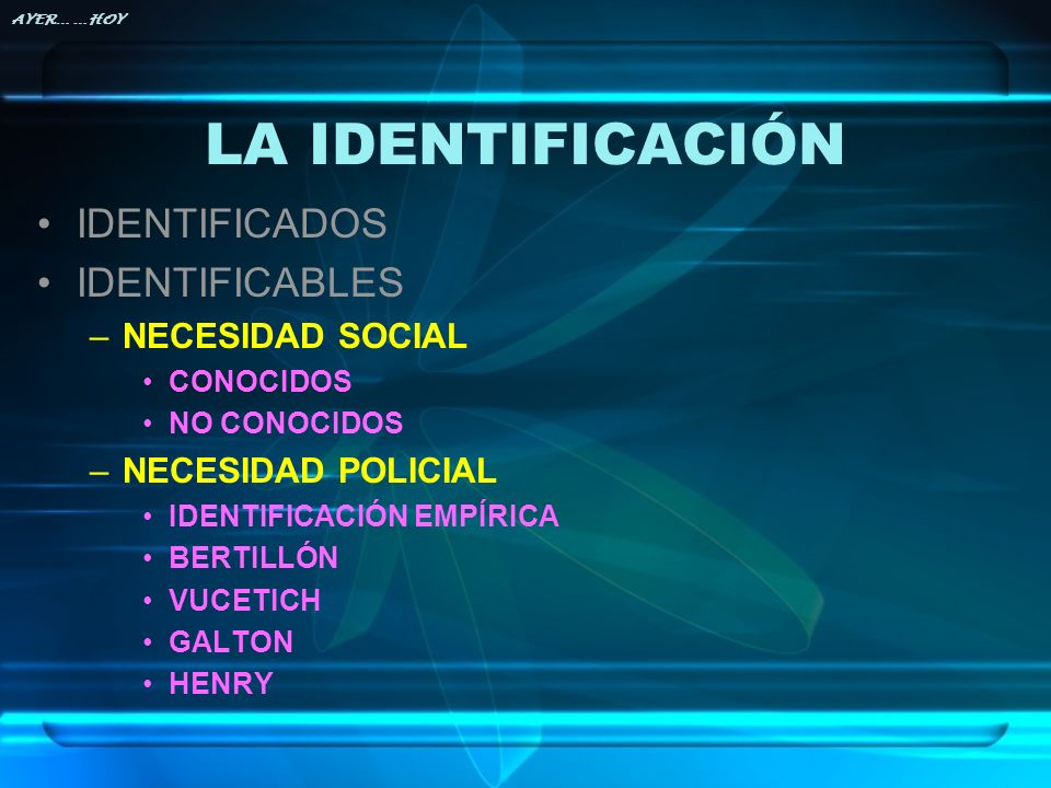 LA IDENTIFICACIÓN IDENTIFICADOS IDENTIFICABLES NECESIDAD SOCIAL