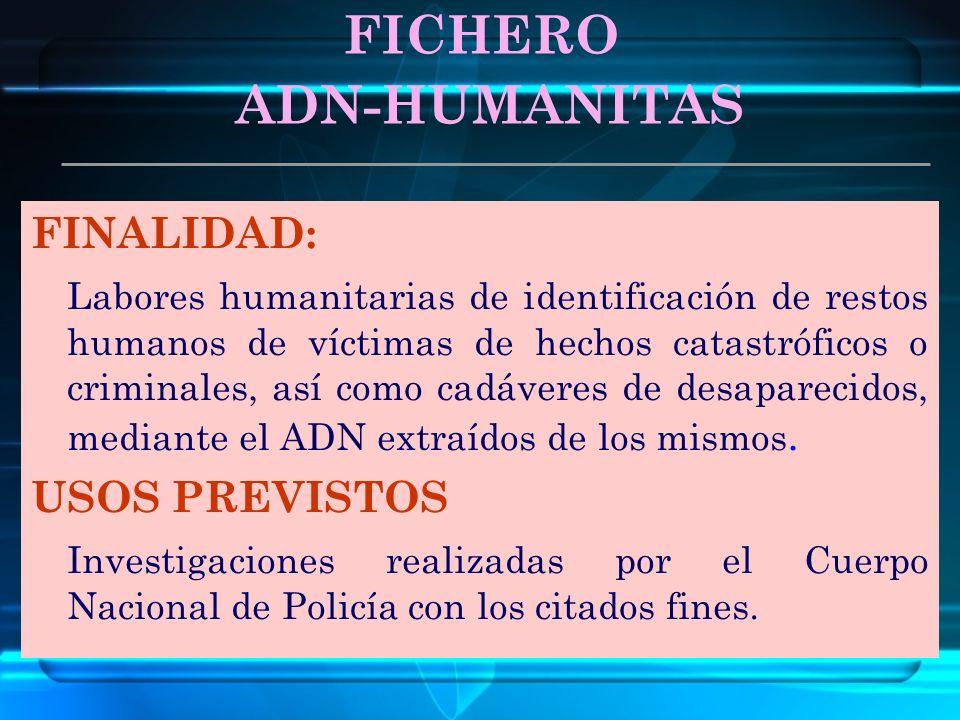ADN-HUMANITAS FICHERO FINALIDAD: