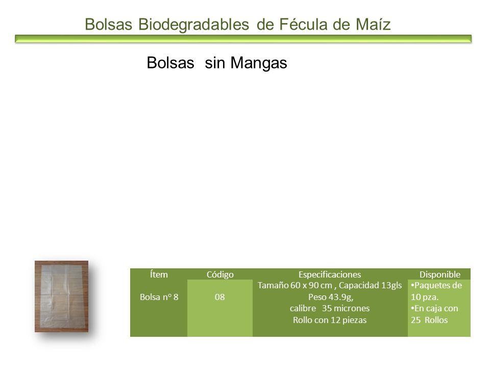 Bolsas Biodegradables de Fécula de Maíz