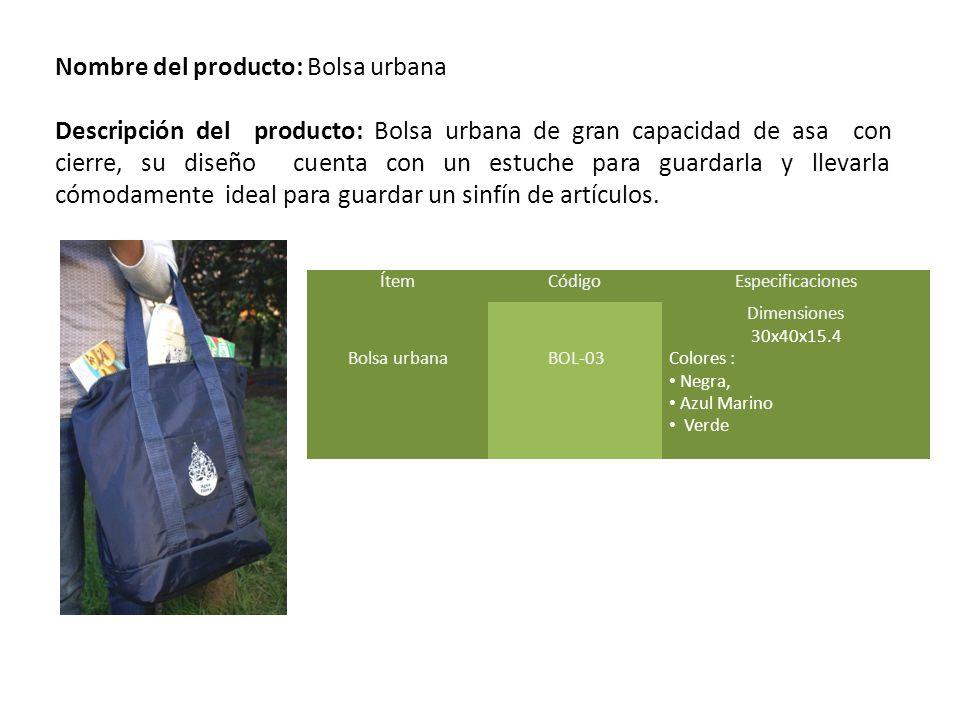 Nombre del producto: Bolsa urbana
