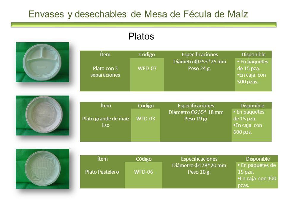 Envases y desechables de Mesa de Fécula de Maíz